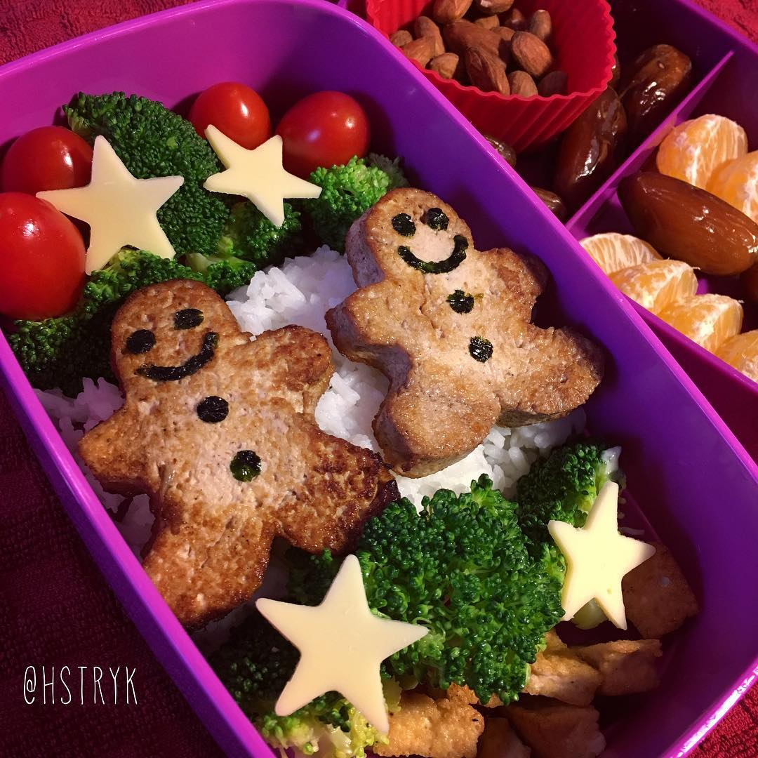 Gingerbread Tofu #veganbento again! One brick of tofu made eight gingerbread men. The easiest way to make bento box lunches is to make batches of your meals ahead of time and assemble the day of (or night before). #キャラ弁 #お弁当 #veganfoodshare #vegan #bento #bentobox
